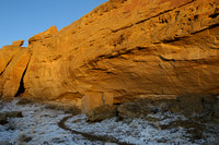 Pueblo ruin on snowy morning at Chaco Canyon campground in NM-08 3-23-09