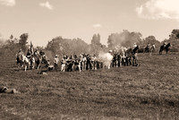 Confererate soldiiers firing at civil war reenactment in Vista-10-bw 3-7-09