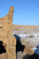 Leaning wall at Pueblo Bonito ruins in Chaco Canyon in NM-01 3-23-09