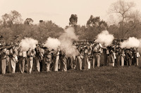 Confererate soldiiers firing at civil war reenactment in Vista-29-bw 3-7-09