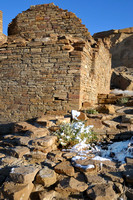 Pueblo Bonito ruins on snowy morning at Chaco Canyon in NM-04 3-23-09.