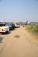 Vehicles lined up to take ferry across from Zambia to Botswana-01 9-18-10