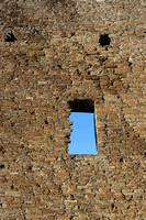Window in wall of Pueblo Bonito ruins in Chaco Canyon in NM-01 3-23-09